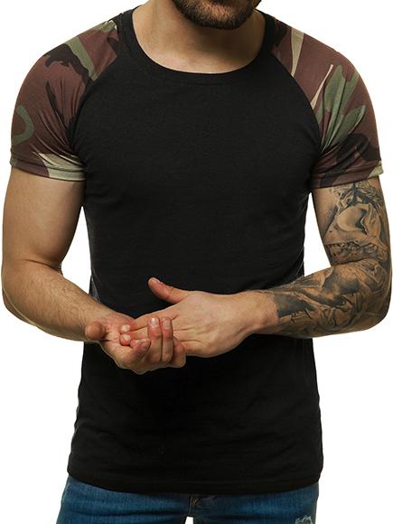 c0bdd7fc274bb9 T-Shirt Kurzarm U-Neck Slim Fit Fitness Camo Basic Unifarben Herren ...